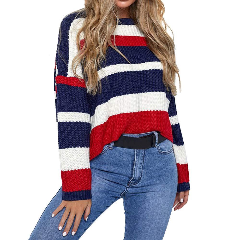 Gyoume Strip Knit Wears,Women Winter Sweater Coats Knitting Sweater Warm Pullover Sweater