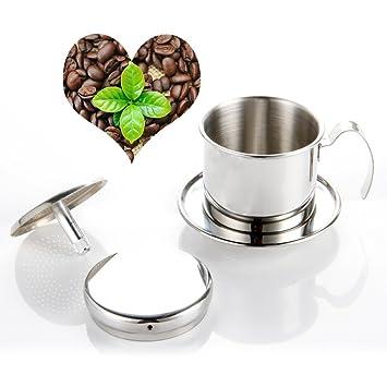 Yul cafetera eléctrica Pot, Brewer de goteo de acero inoxidable cafetera eléctrica de goteo taza café vietnamita - Portátil, sin papel para hogar cocina ...