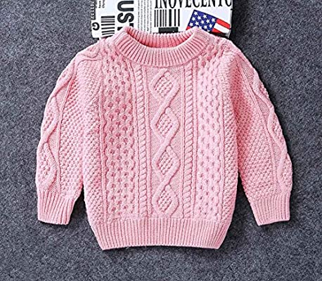 Happy Cherry Toddler Baby Boy Girl Cable Knit Sweater Warm Fleece Lined Long Sleeve Pullover for 3-9 Years
