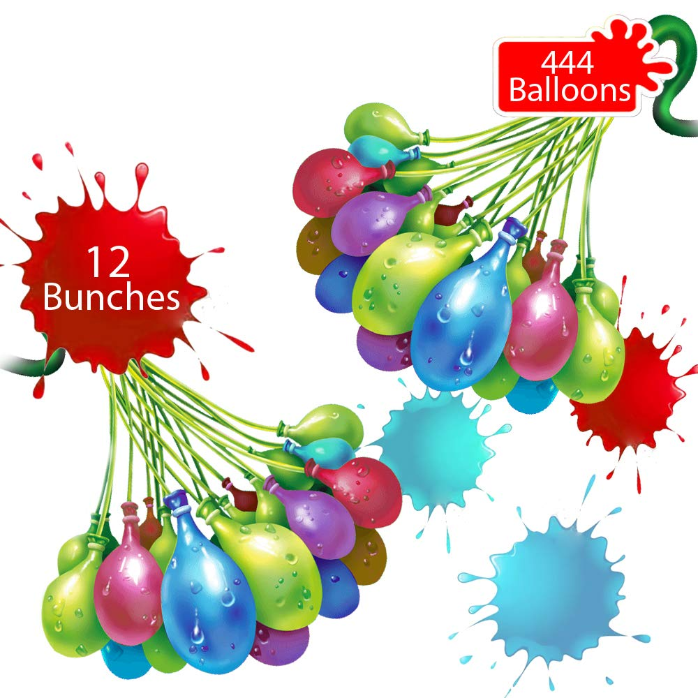 Tiny Balier Water Balloons 444 Balloons Easy Quick Fill for Splash Fun Kids and Adults Party with 12 Bunches in 60 Seconds