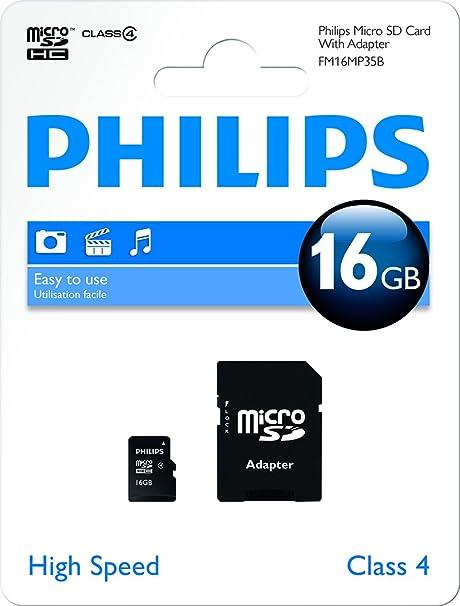 Philips Micro SD C4 - Tarjeta de Memoria Micro SDHC de 16 GB