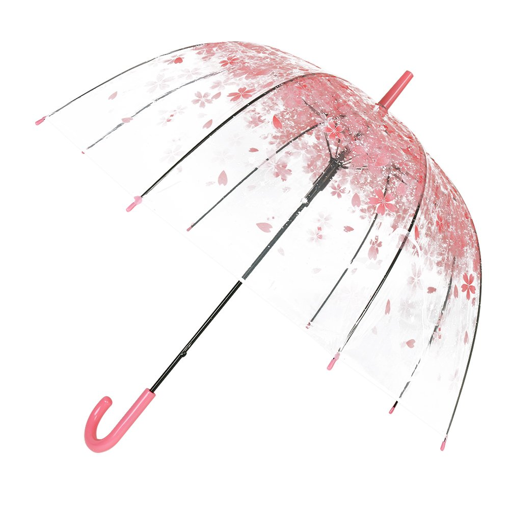Bubble Stick Umbrella Clear Dome Umbrella Transparent color pattern by TOSOAR (Pink cherry blossom) YiTaoJun