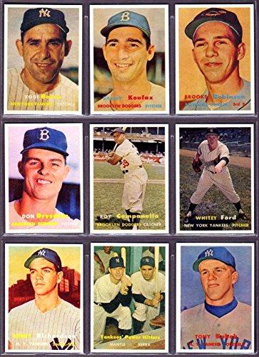 1957 Topps Super Star Reprint (9) Card Lot #2 (Sandy Koufax) (Brooks Robinson RC) (Yogi Berra) (Don Drysdale RC) (Roy Campanella) (Whitey Ford) (Bobby Richardson RC) (Tony Kubek RC) (Yankee's Power Hitters Mantle, Berra)