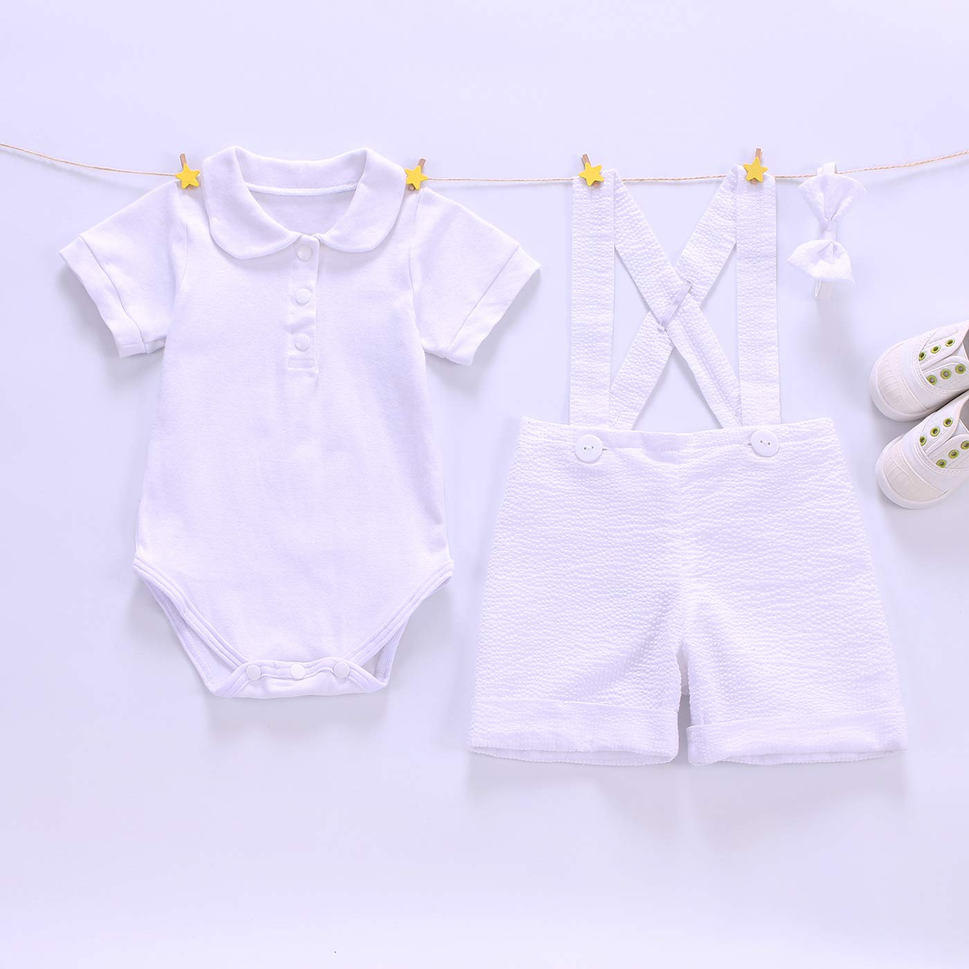 Euro Bear White Baptism Suits for Baby Boy Christening Gown Boys