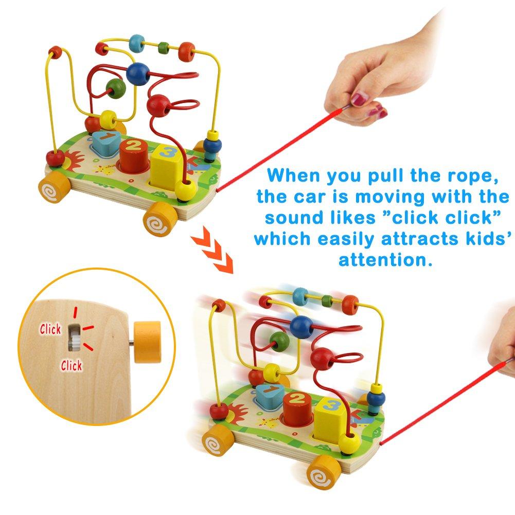 Nuheby Giochi in Legno Gioco Labirinto Giochi Educativi Roller Coaster con Due Diversi Colori in Loop Bead Maze Gioco Perline per Bambini da 3 Anni