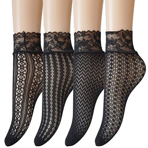 Jormatt 4 Pairs Women Lace Fishnet Socks Nylon Sheer Ankle Dress Socks Low Cut Black Sheer Thin Novelty Cuff Socks For Flats Heels Bootie Shoes, Size 8-12