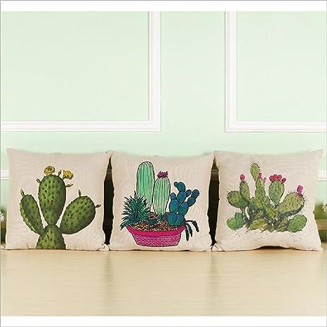 Fundas de Cojines, Toifucos Funda de Cojín Vintage Cactus Algodón Lino Funda de Almohadas pare Casa Sofá Decorativos, 3pcs