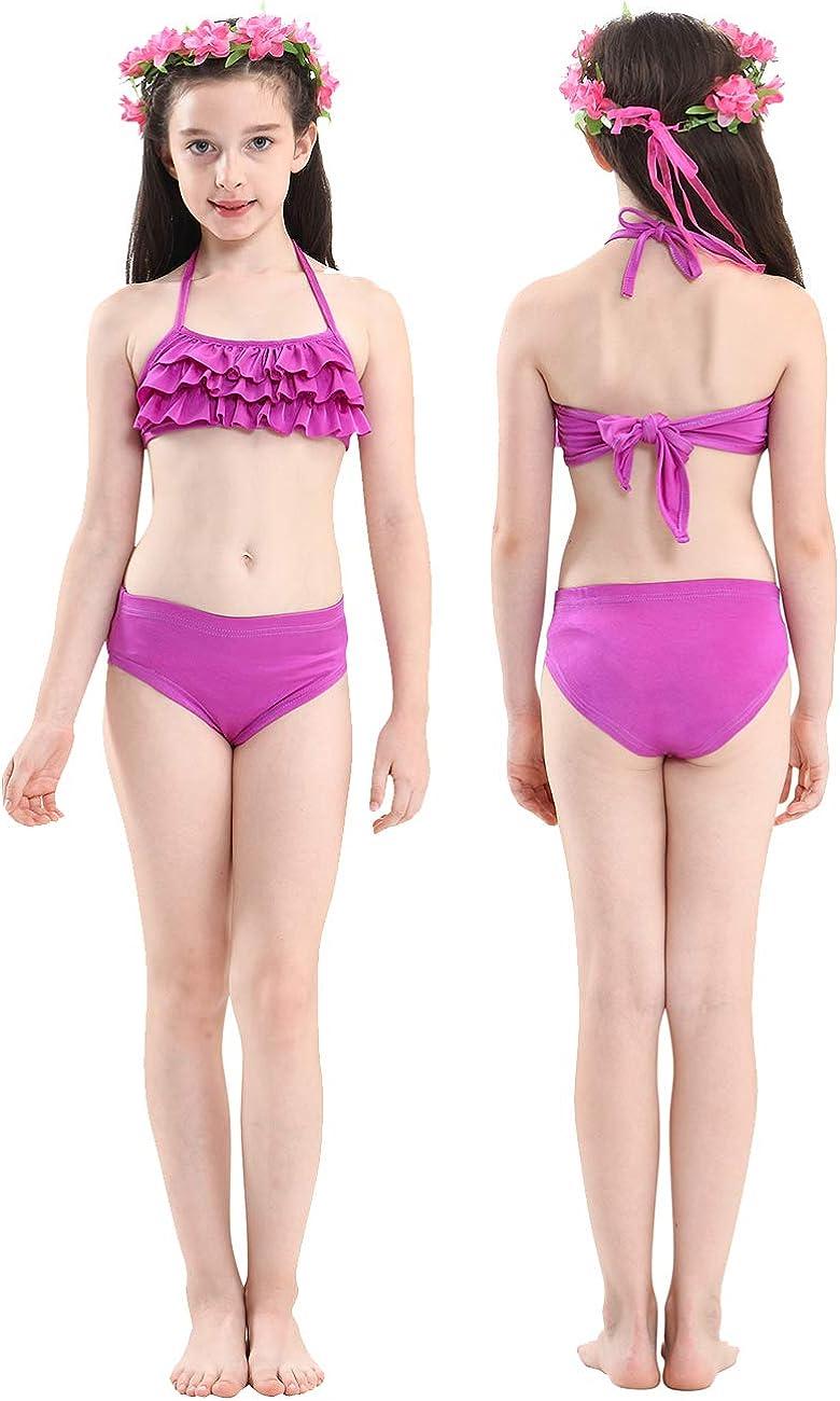 Girls 3 PCS Swimsuit Mermaid Bathing Suit for Swimming Mermaid Princess Bikini Set Bathing Suit for 3-12Y