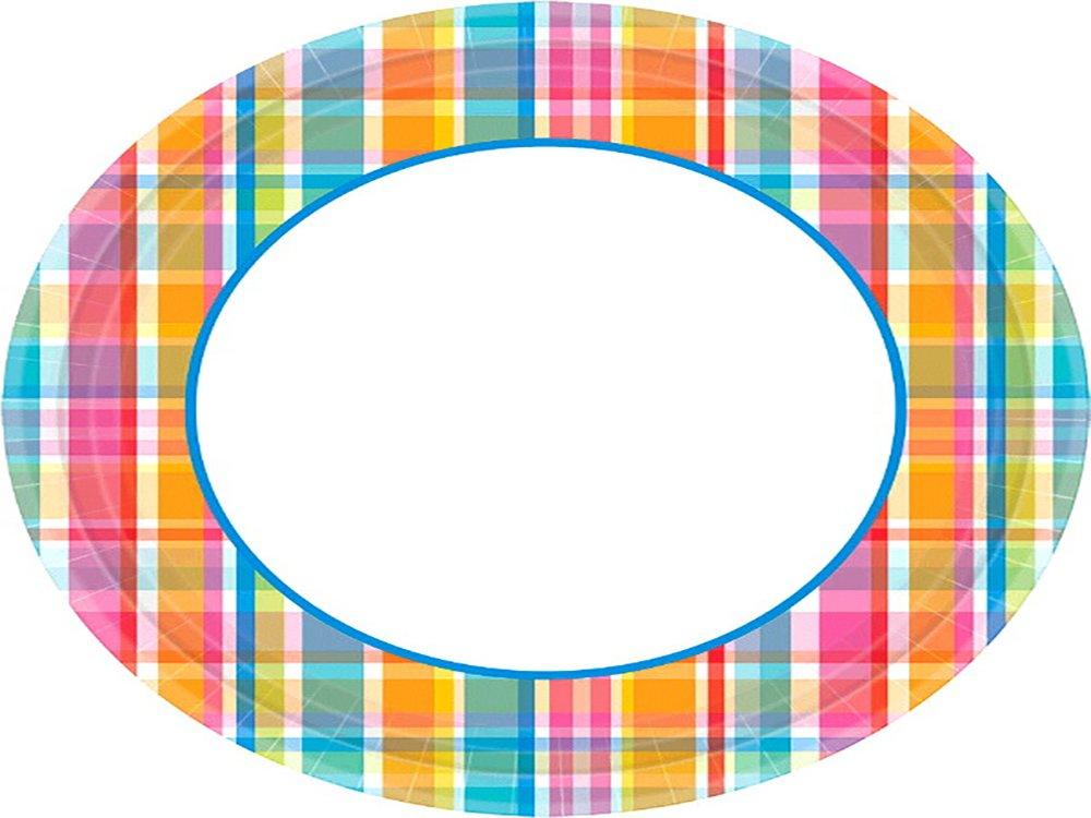 Amscan Sun-Sational Summer Luau Party Bright Pastel Plaid Round Plates Tableware, Paper, 8'', Pack of 40 Childrens, 8'' by Amscan