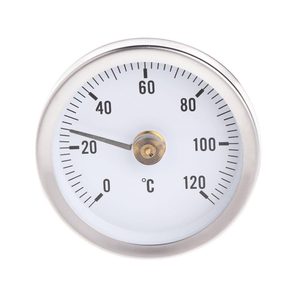 Cuigu 63mm Clip-on Rohrthermometer Bimetall-Thermometer Temperaturanzeige Mit Feder 0-120/º C