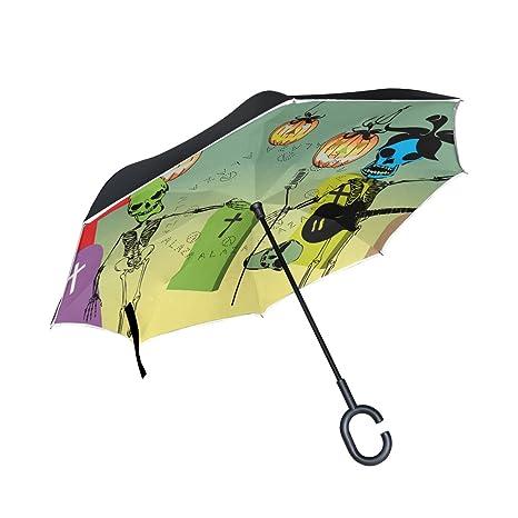 COOSUN Cráneo de Halloween Jugar Capa Guitarra doble del paraguas invertido inversa para el coche y