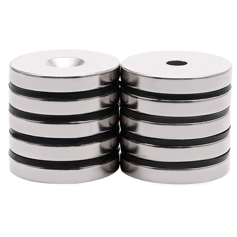Lot de 10 aimants en n/éodyme /à trou frais/é 20 x 3 mm avec trous de 5 mm puissants aimants permanents en terre rare avec 10 vis pour travaux manuels