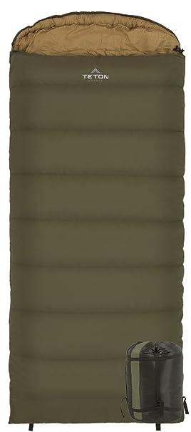 La práctica de deportes de Teton -18 grados C de franela para saco de dormir con cremallera derecha - con forro verde, 2x-grande: Amazon.es: Deportes y aire ...
