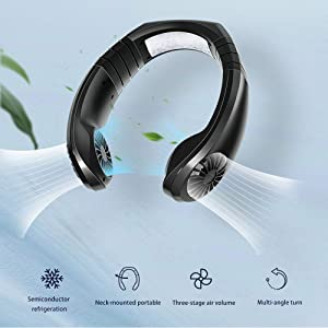 Hanging Neck Fan, Air Cooler USB Micro Portable 2 in 1 Air Cooler Mini Electric Air Conditioner Scarf Cooling Portable Hanging Neck Fan,Air Cooler, USB Hanging Neck Air Conditioner (Black)