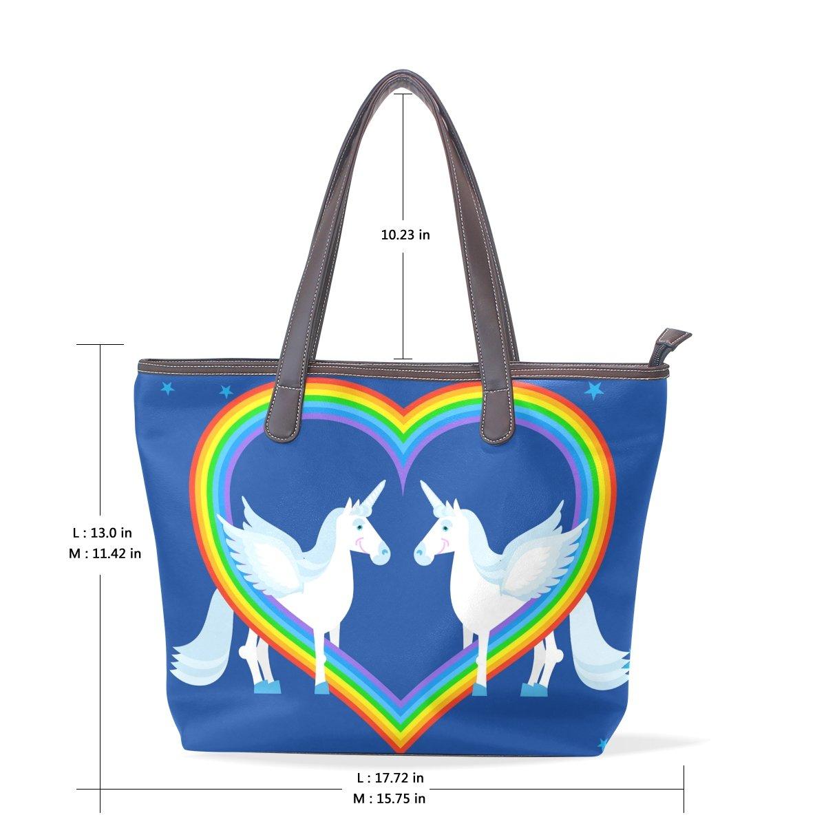 IMOBABY Unicorn Leather Tote Bag Handbag Shoulder Bag for Women Girls