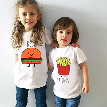 3ebc040123dc Toddler Kids Boys Girls Brother Sister Friends Shirt Matching Letter Print Clothes  Outfits