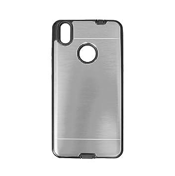 PLANETMOVIL® BQ AQUARIS X (también X PRO) Funda carcasa GRIS PLATA metalica y de silicona hibrida dura de metal