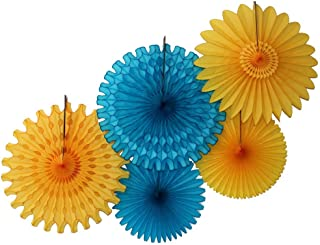 product image for Devra Party 5-Piece Honeycomb Fans, Golden Sky Turquoise Gold