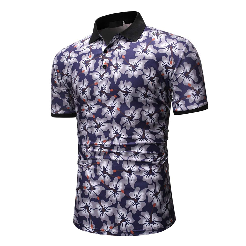 MeterMall Men Fashion Printed Short Sleeve Lapel Collar T-Shirt