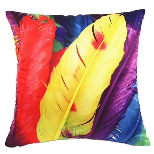 Nunubee funda para cojín de plumas de colores todos los ...