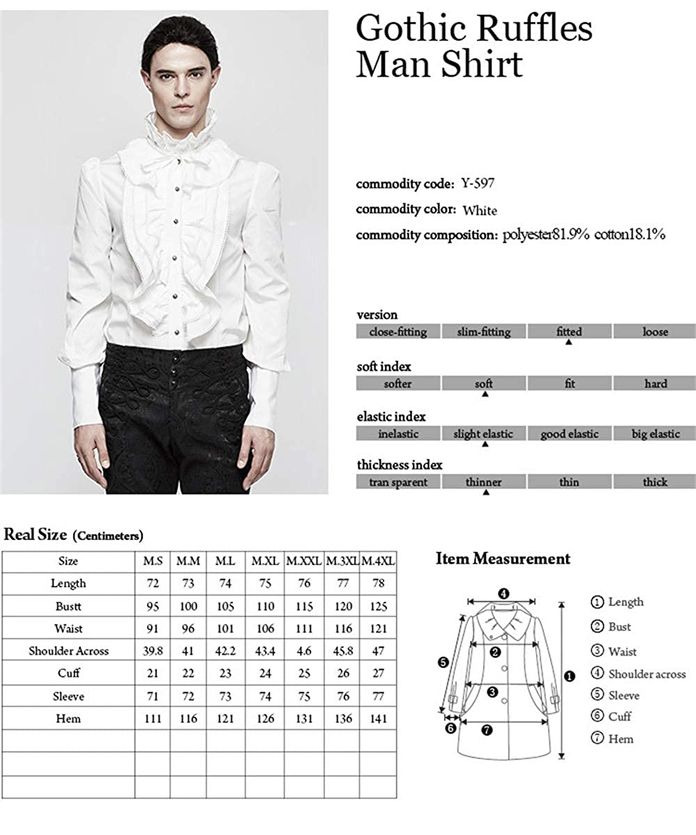 Gothic Men Ruffles Shirt Long Sleeve White Casual Blouses Punk Cotton Shirt Tops
