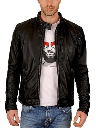 Leather4u Genuine Leather Jacket for Men - Lambskin Leather KL715 XS Black