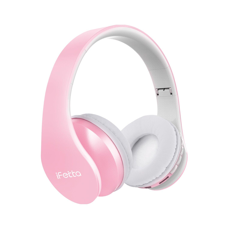 Ifecco Cuffie Bluetooth 4 in 1 Cuffie Over Ear Bluetooth Cuffie Wirless, Cuffie Stereo con Mic, Lettore MP3, Radio FM Compatibili con Tutti Gli Smartphone/Tablet/Laptop Comuni (Rosa)