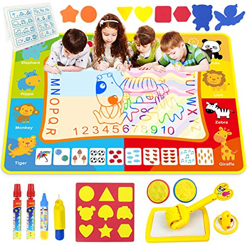 "Doodle Mat - Funplus Large Size 47"" X 35"" of Water Drawing Mat for Kids with 4 Magic Water Pens and 17 Molds, No Mess Kids Educational Toy Gift Magic Painting Doodle Mat with Neon Colors for Toddler"