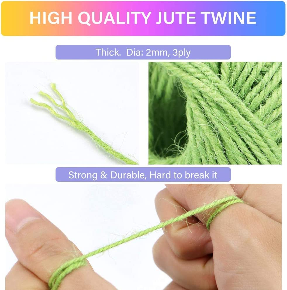 984 Feet Gift Wrapping Twine HULISEN Jute Twine 328 Yards Picture Display and Embellishments Gift Package DIY Crafts 2mm 3 ply Twine String for Artworks 12 Roll Natural Jute String