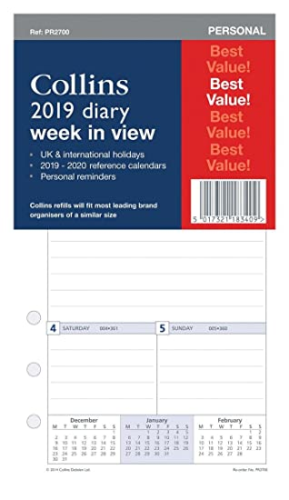 COLLINS 2019 DIARY REFILL WEEK IN VIEW FOR ORGANISERS /& FILOFAX PR2700-19