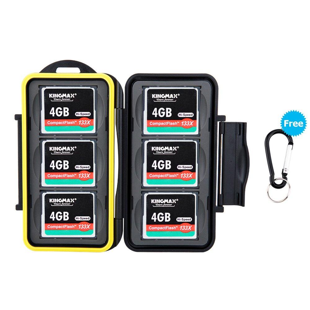 JJC memory card custodia impermeabilità porta schede di memoria per 6 Compact Flash CF con moschettone