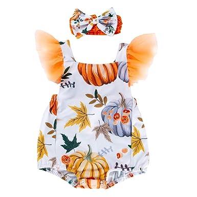 OBEEII Vestido de Halloween para Bebé Niñas Calabaza Letra ...