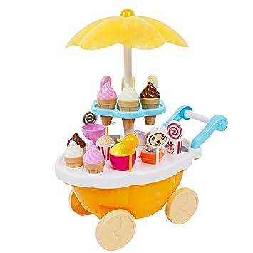 BEETEST Cocina infantil de juguete Set niños bebés miniatura dulce de caramelo de hielo crema carrito tienda juguete educativo luz y música Amarillo: ...