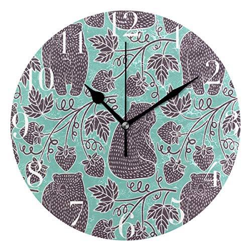 (FunnyCustom Round Wall Clock Cute Cartoon Bear Strawberry Acrylic Creative Decorative for Living Room/Kitchen/Bedroom/Family)