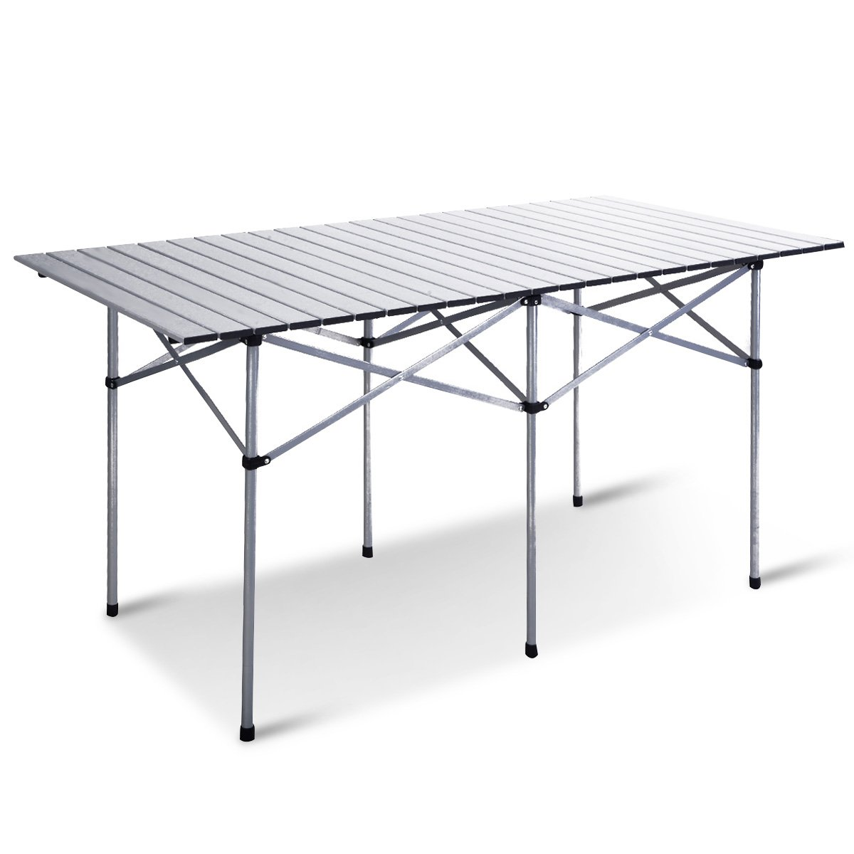 Giantex Roll Up Portable Folding Camping Square Aluminum Picnic Table w Bag 55