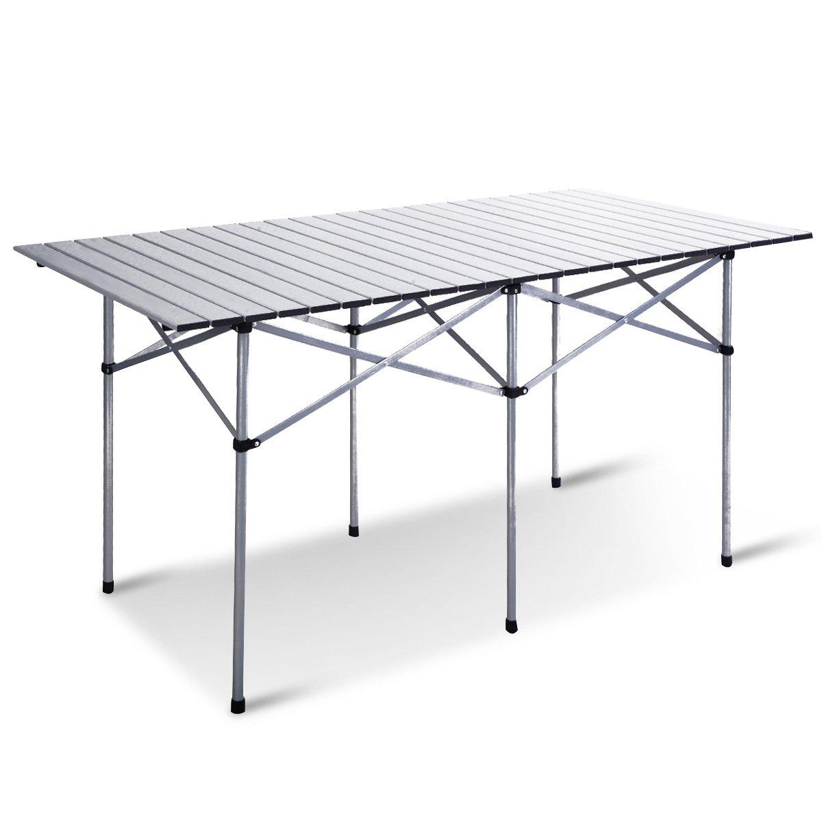 Giantex Roll Up Portable Folding Camping Square Aluminum Picnic Table w/Bag (55'')
