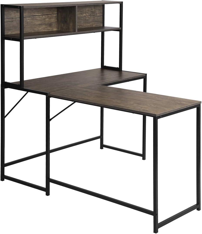 postazione di lavoro in noce ufficio moderna e compatta Scrivania a forma di L scrivania con 2 ripiani computer per casa
