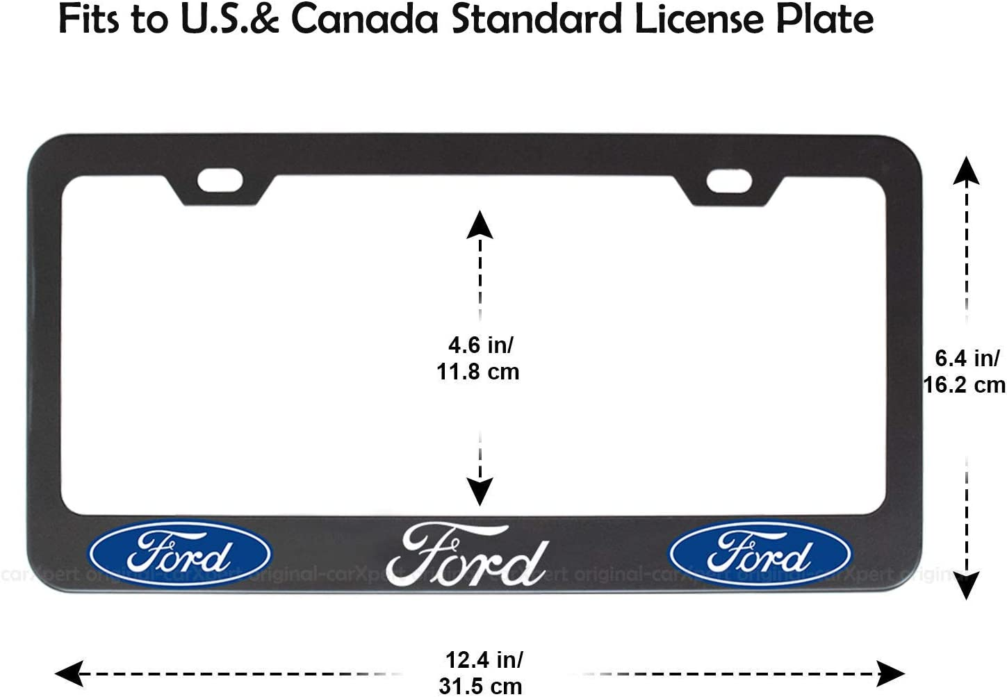 fit A c u r a-Black Upscale Black License Plate Frame for Front and Rear License Plate Carfun 2pcs for License Plate Frame,Black Matte Aluminum License Plate with Screw Caps