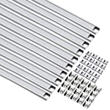 uxcell 10 Packs Aluminum LED Channel - 1M/3.28Ft Led Channels and Milky Covers with End Caps and Mounting Clips for LED Flexible Light Strip Mounting (CN610, 1mx15.55mmx5.9mm)