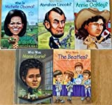Set of 5 Who Was/Who Is Books: Annie Oakley, Abraham Lincoln, The Beatles, Marie Curie, and Michelle Obama