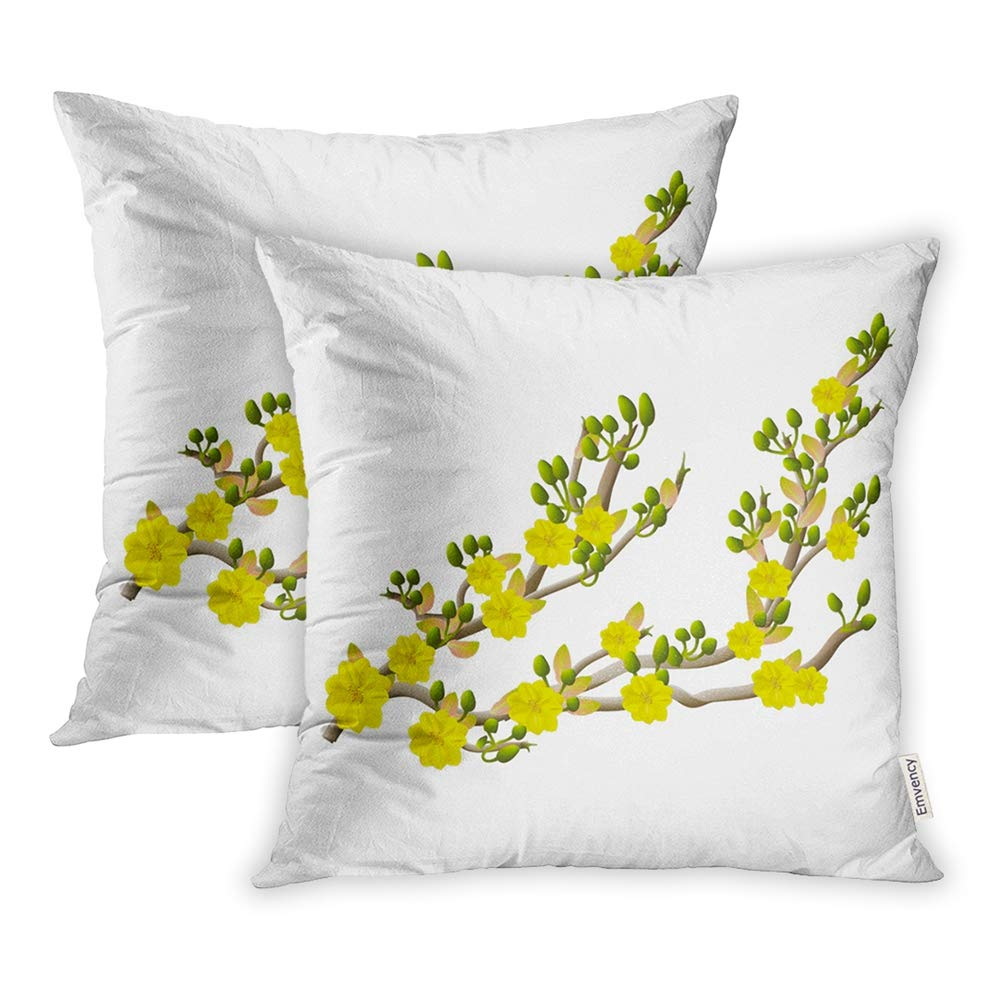Emvency Pack of 2 Throw Pillow Covers Print Polyester Zippered Pillowcase Green TET Yellow Apricot Flower Traditional Lunar New Year in Vietnam Beauty 16x16 Square Decor for Home Bed Couch Sofa