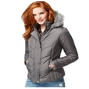 Krush Faux-Fur-Trim Quilted Coat Jacket Charcoal Small