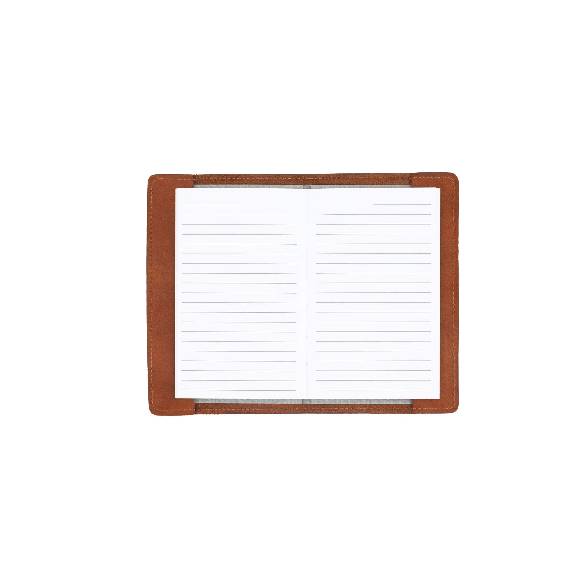 SLATE COLLECTION Mercer Refillable Journal, Full-Grain Leather (Cognac, Mini, Lined) by SLATE COLLECTION
