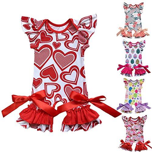 03cb9d126 IBTOM CASTLE Newborn Baby Girls Ruffle Romper Jumpsuit Valentine's Love  Heart Easter Egg Print Bodysuit Pajama