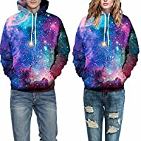 IMAGINE Womens Autumn Loose Galaxy 3D Digital Print Long Sleeve Pullover Hoodies Jacket