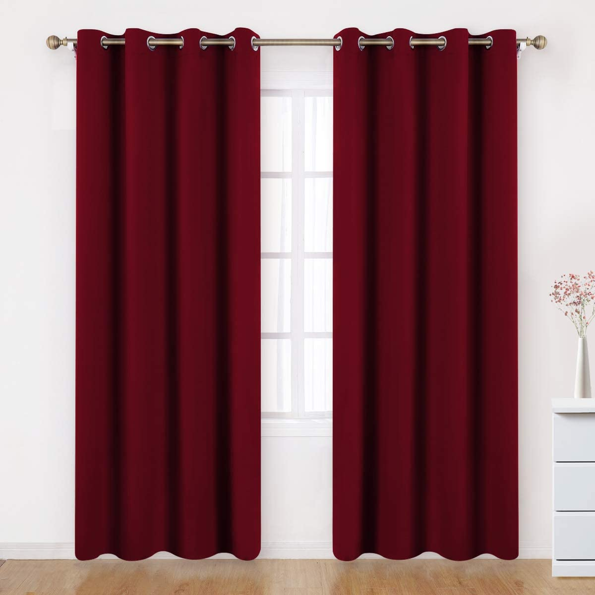 BYSURE Burgundy Blackout Curtains 52 x 96 Inches Long 2 Panels for Bedroom Window Treatment Energy Saving Thermal Drapes Burgundy red Room Darkening Curtains (Burgundy red