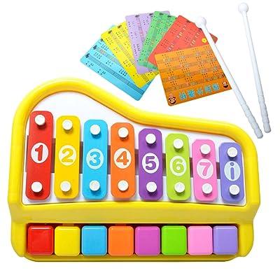 B Blesiya 2 en 1 Mini Piano Xylophone 8 Touches avec Marteau et Cartes de Musique Jouets Musical pour Enfants