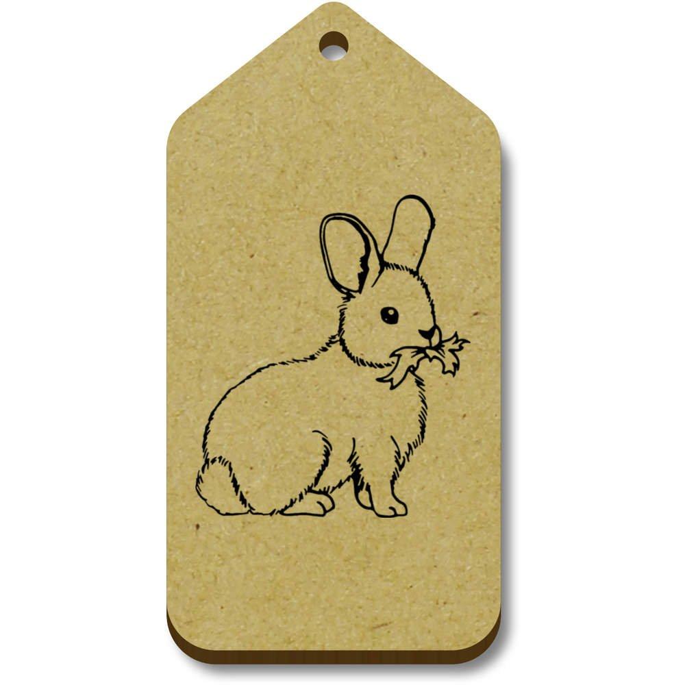 Azeeda 10 x 'Lapin Mignon' etiquettes de Bagage / Cadeau en Bois (TG00063221)