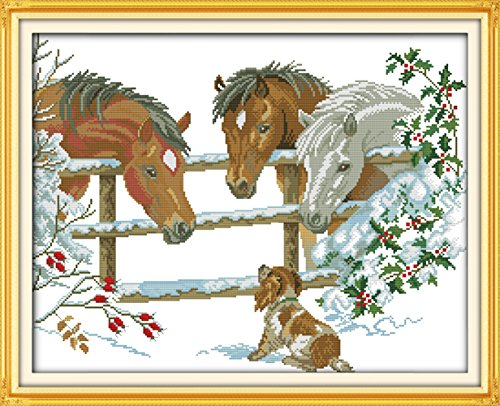 CaptainCrafts Hots Cross Stitch Kits Patterns Embroidery Kit - Inquisitive Three Horses (Stamped)