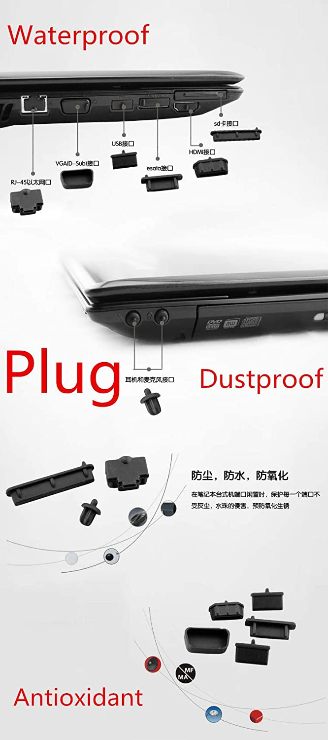 "Waterproof Dustproof Laptop Black Silicone Plug Port Cover for New Alienware 15 R2 R3 R4 ANW15 AW15R2 AW15R3 AW15R4 15.6"" 2015-2018 release"